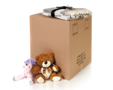 closed box with stuffed animals