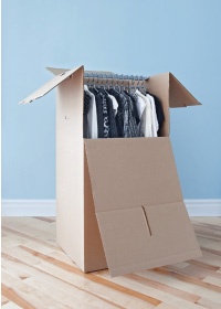 wardrobe box with clothes