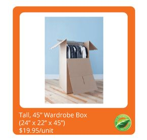 "Tall, 45"" Wardrobe Box $19.95/unit"