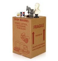 closed box with fragile items
