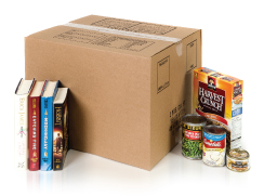 closed box with books and food